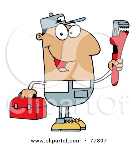 Royalty-Free (RF) Clipart Illustration of a Friendly Hispanic Plumber Man Carrying A Wrench And Tool Box by Hit Toon