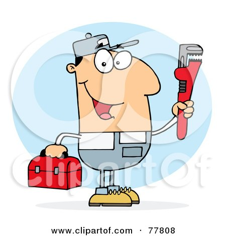 Royalty-Free (RF) Clipart Illustration of a Caucasian Plumber Man Carrying A Red Wrench And Tool Box by Hit Toon