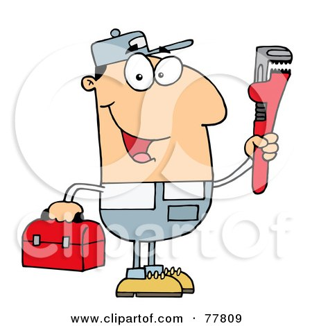 Royalty-Free (RF) Clipart Illustration of a Friendly Caucasian Plumber Man Carrying A Wrench And Tool Box by Hit Toon