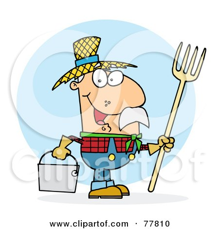 Royalty-Free (RF) Clipart Illustration of a Male Caucasian Farmer Carrying A Rake And Pail by Hit Toon