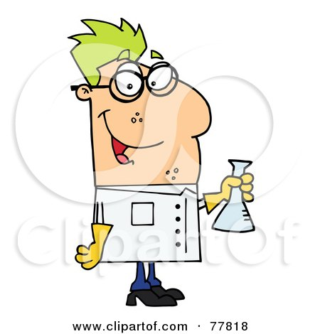 Royalty-Free (RF) Clipart Illustration of a Male Caucasian Scientist Carrying A Flask by Hit Toon