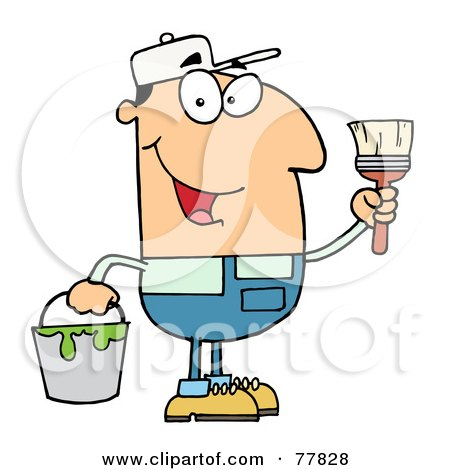 Royalty-Free (RF) Clipart Illustration of a Male Caucasian House Painter Holding A Pail And Paintbrush by Hit Toon