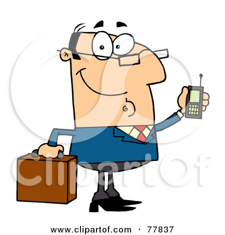 Royalty-Free (RF) Clipart Illustration of a Friendly Caucasian Businessman Holding A Briefcase And Cell Phone by Hit Toon