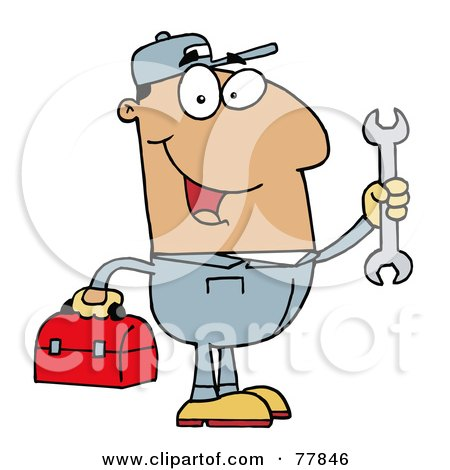 Royalty-Free (RF) Clipart Illustration of a Happy Hispanic Mechanic Man With A Tool Box And Wrench by Hit Toon