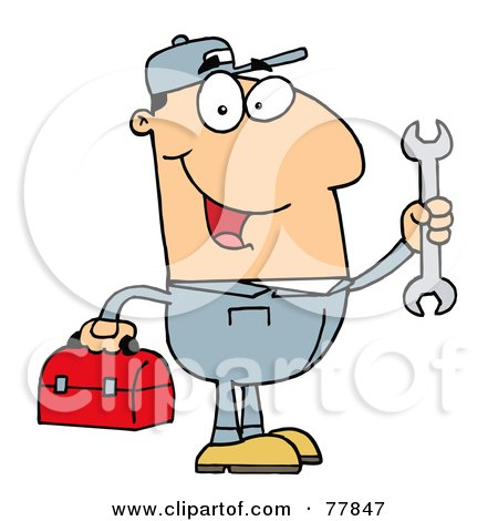Royalty-Free (RF) Clipart Illustration of a Happy Caucasian Mechanic Man With A Tool Box And Wrench by Hit Toon