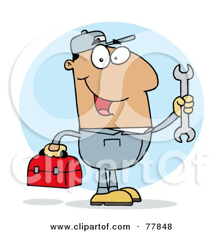 Royalty-Free (RF) Clipart Illustration of a Happy Hispanic Mechanic Guy With A Tool Box And Wrench by Hit Toon