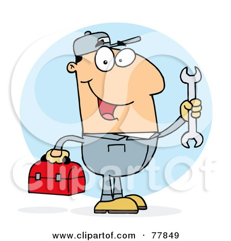Royalty-Free (RF) Clipart Illustration of a Happy Caucasian Mechanic Guy With A Tool Box And Wrench by Hit Toon