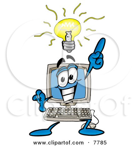 Clipart Picture of a Desktop Computer Mascot Cartoon Character With a Bright Idea by Toons4Biz