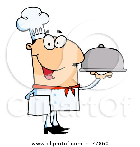Royalty-Free (RF) Clipart Illustration of a Friendly Caucasian Male Chef Serving Food In A Sliver Platter by Hit Toon