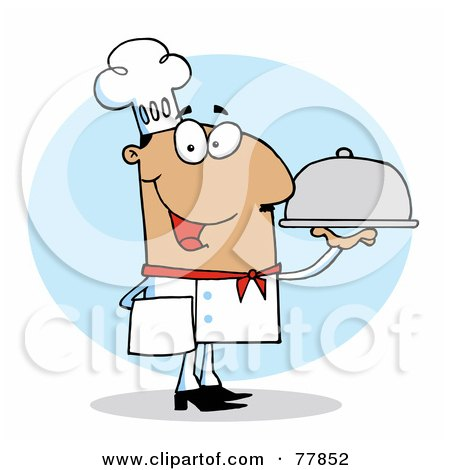 Royalty-Free (RF) Clipart Illustration of a Friendly Hispanic Chef Guy Serving Food In A Sliver Platter by Hit Toon