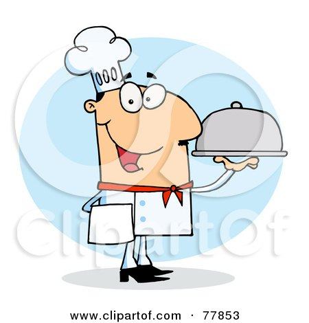 Royalty-Free (RF) Clipart Illustration of a Friendly Caucasian Chef Man Serving Food In A Sliver Platter by Hit Toon