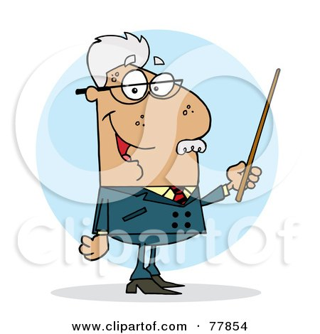 Royalty-Free (RF) Clipart Illustration of a Senior Hispanic Professor Man Holding A Pointer by Hit Toon