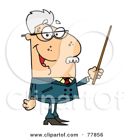 Royalty-Free (RF) Clipart Illustration of a Male Senior Caucasian Professor Holding A Pointer by Hit Toon