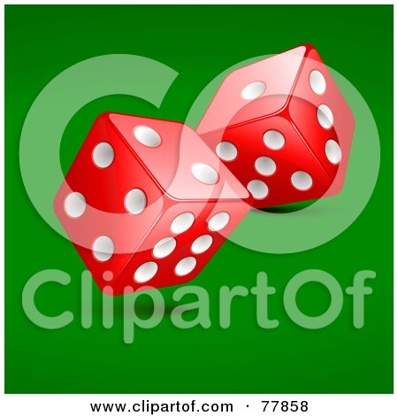 Royalty-Free (RF) Clipart Illustration of Two Rolling Red And White Casino Dice On Green by Oligo