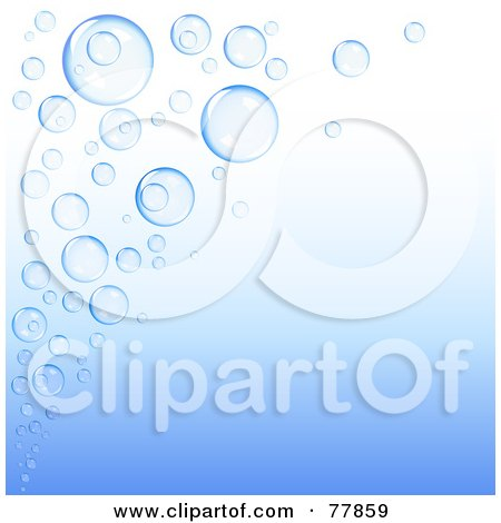 Royalty-Free (RF) Clipart Illustration of a Gradient Blue Background With A Corner Of Blue Bubbles by Oligo