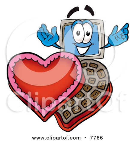 Clipart Picture of a Desktop Computer Mascot Cartoon Character With an Open Box of Valentines Day Chocolate Candies by Toons4Biz
