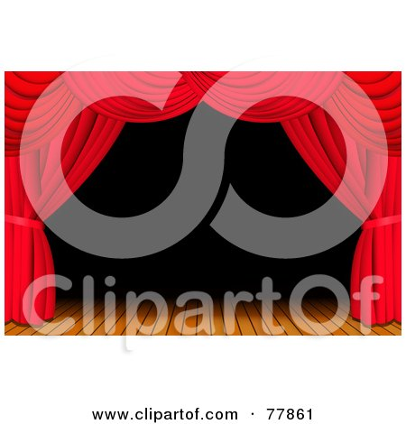 Royalty-Free (RF) Clipart Illustration of a Dark And Deserted Wooden Stage Framed With Red Theatre Curtains by Oligo