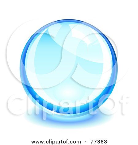 Royalty-Free (RF) Clipart Illustration of a Shiny Glass Or Crystal Blue Ball by Oligo