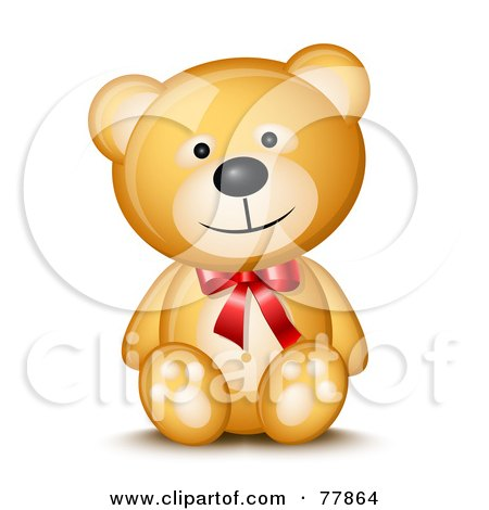 Friendly Happy Teddy Bear Wearing A Red Bow Posters, Art Prints