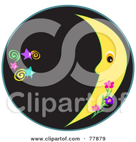 Royalty-free clipart picture of a black circle with a crescent moon and