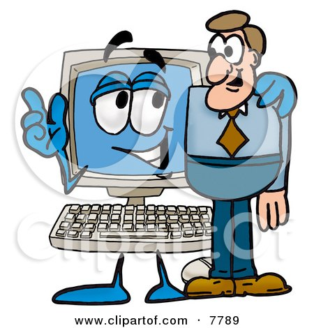 Desktop Computer Mascot Cartoon Character Talking to a Business Man Posters, Art Prints