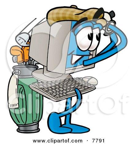 Desktop Computer Mascot Cartoon Character Swinging His Golf Club While Golfing Posters, Art Prints