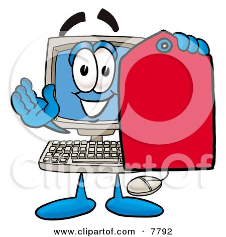 Desktop Computer Mascot Cartoon Character Holding a Red Sales Price Tag Posters, Art Prints