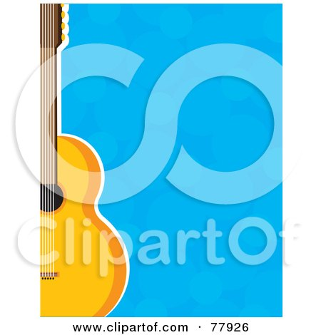 Royalty-Free (RF) Clipart Illustration of a Blue Bubble Background Bordered With A Guitar by Maria Bell