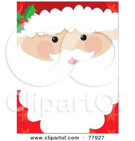 Royalty-Free (RF) Clipart Illustration of a Santa Face Closeup Background With Text Space On His Beard by Maria Bell