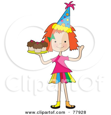 Royalty-Free (RF) Clipart Illustration of a Cute Red Haired Birthday Girl Serving Cupcakes by Maria Bell