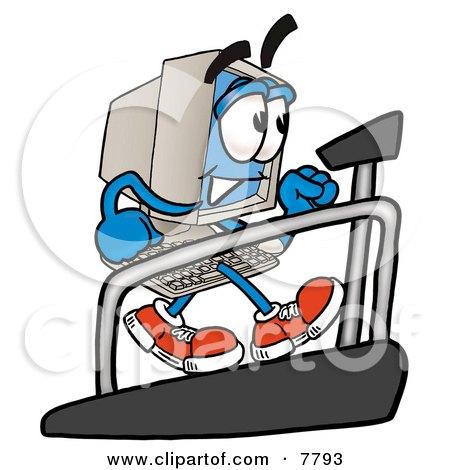 Desktop Computer Mascot Cartoon Character Walking on a Treadmill in a Fitness Gym Posters, Art Prints