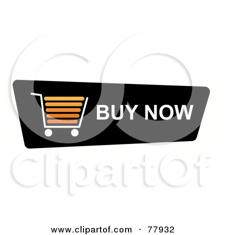Royalty-Free (RF) Clipart Illustration of a Black Buy Now Shopping Cart Button On White by oboy