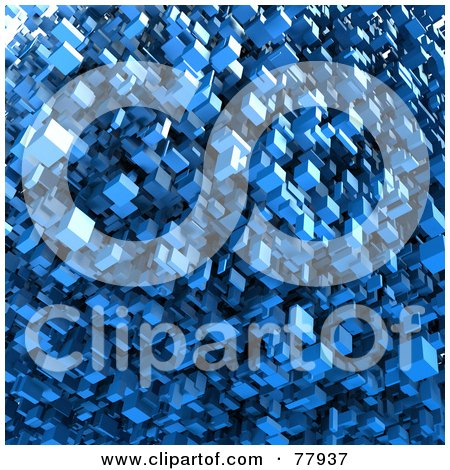 Royalty-Free (RF) Clipart Illustration of a Background Of Blue 3d Floating Blocks by Tonis Pan