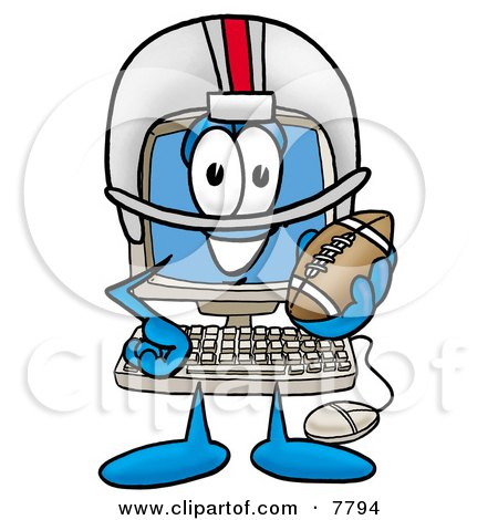 Clipart Picture of a Desktop Computer Mascot Cartoon Character in a Helmet, Holding a Football by Toons4Biz