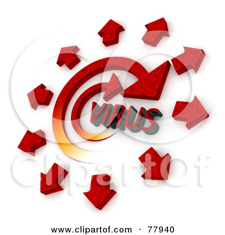 Royalty-Free (RF) Clipart Illustration of 3d Red Arrows Spreading From A Spiraling Virus by Tonis Pan