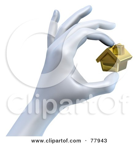 Royalty-Free (RF) Clipart Illustration of a 3d Hand Pinching A Tiny Golden House by Tonis Pan