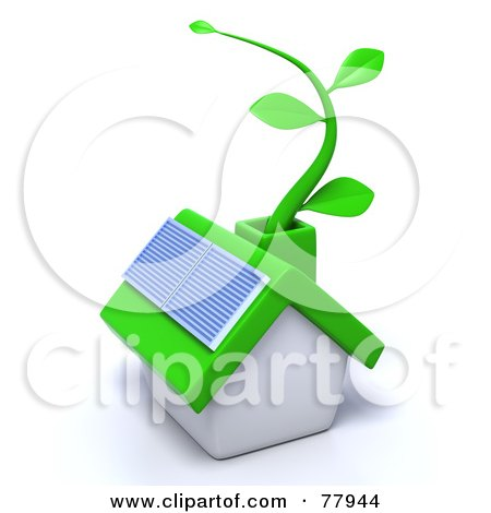 Royalty-Free (RF) Clipart Illustration of a 3d Green Eco Friendly Home With A Solar Panel And Green Vine by Tonis Pan