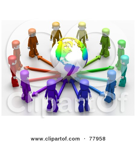 Royalty-Free (RF) Clipart Illustration of a 3d Colorful Network People Standing Around A Globe by Tonis Pan
