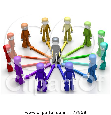 Royalty-Free (RF) Clipart Illustration of Colorful 3d People With Arrows, Surrounding A Person