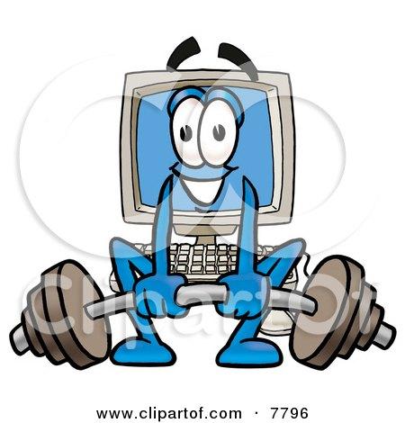 Desktop Computer Mascot Cartoon Character Lifting a Heavy Barbell Posters, Art Prints