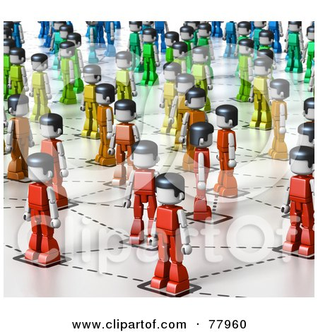 Royalty-Free (RF) Clipart Illustration of a 3d Network Of Rainbow Colored Toy People by Tonis Pan