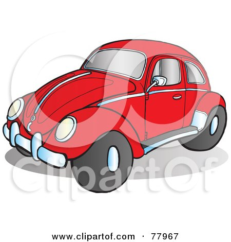 Royalty-Free (RF) Clipart Illustration of a Red Slug Bug Car With Chrome Accents On The Side And Hood by Snowy