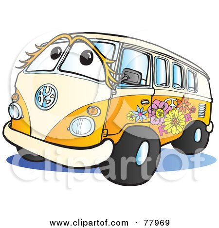 Royalty-Free (RF) Clipart Illustration of a Beige And Orange Flower Power Hippy Van by Snowy