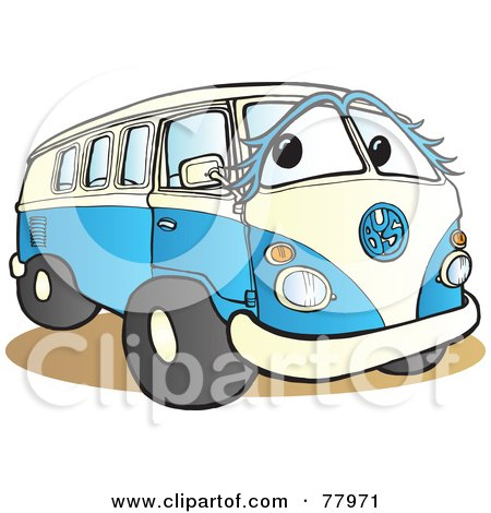 Royalty-Free (RF) Clipart Illustration of a Blue And White Hippy Van With A Face by Snowy