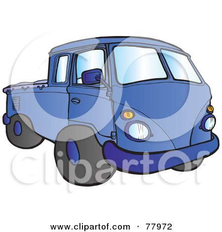 Royalty-Free (RF) Clipart Illustration of a Blue Hippy Micro Truck by Snowy