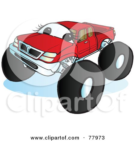 Royalty-Free (RF) Clipart Illustration of a Big Red Monster Truck With A Face by Snowy