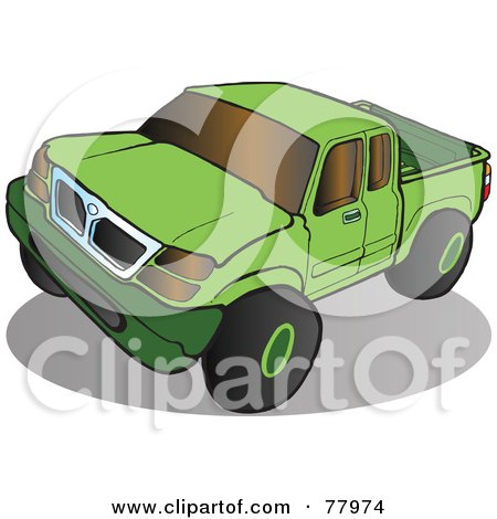 Royalty-Free (RF) Clipart Illustration of a Green Pickup Truck With Tinted Windows by Snowy