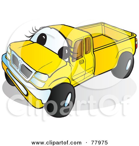 Royalty-Free (RF) Clipart Illustration of a Yellow Pickup Truck With A Face by Snowy