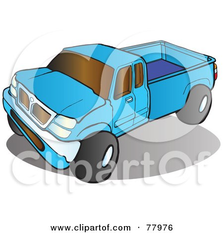 Royalty-Free (RF) Clipart Illustration of a Blue Pickup Truck With Tinted Windows by Snowy