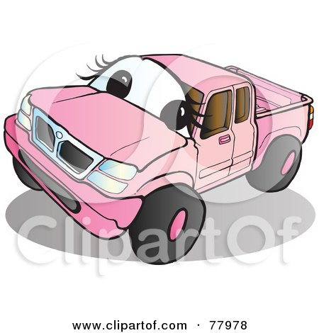Royalty-Free (RF) Clipart Illustration of a Pink Pickup Truck With A Face by Snowy